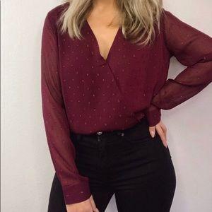 Merlot Burgundy Sheer Wrap blouse in Small